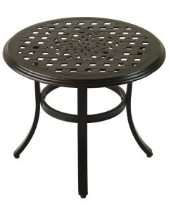 "Cast Aluminum Series 5000 Outdoor Patio 21"" Round End Table - Antique Bronze Finish"