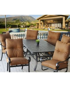 """Tortuga Outdoor Patio 7pc Dining Set with Series 5000 42"""" x 84"""" Rectangle Table - Includes Cushions - Antique Bronze Finish"""