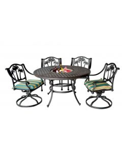 """Palm Tree Cast Aluminum Dining Set With 52"""" Round table Series 3000 - Antique Bronze"""
