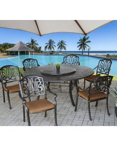 "Elisabeth Outdoor Patio 7pc Set with Series 5000 71"" Round Table - Includes 35"" Lazy Susan & Seat Cushions - Antique Bronze Finish"