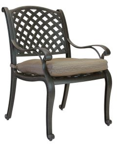 Nassau Cast Aluminum Outdoor Patio Dining Chair with Seat Cushion - Antique Bronze