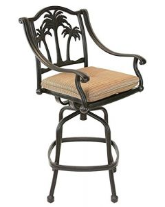 Heritage Outdoor Living Palm Tree Cast Aluminum Outdoor Patio Bar stool with Seat Cushion - Antique Bronze