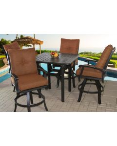 """Cast Aluminum Barbados Cushion Outdoor Patio 5pc Bar Set with Series 4000 42"""" Square Bar Table - Includes Seat & Back Cushions - Antique Bronze Finish"""