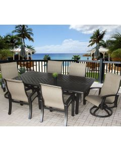 Barbados Sling Outdoor Patio 7pc Dining Set with 44x86 Rectangle Table Series 4000 - Antique Bronze Finish