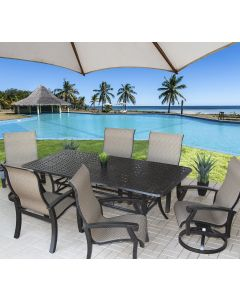 "Barbados Sling Outdoor Patio 7pc Dining Set with Series 5000 42"" x 84"" Rectangle Table - Antique Bronze"