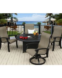 """Series 2000 Cast Aluminum Barbados Sling Outdoor Patio 5pc Fire Pit Set with 52"""" Round Fire Pit - Includes (2) Swivel Rockers, (2) Dining Chairs & Burner - Antique Bronze Finish"""