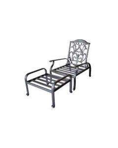 Flamingo Cast Aluminum Adjustable Club Chair With Ottoman - Antique Bronze
