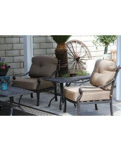 "Flamingo Cast Aluminum 3pc Outdoor Patio Club Chair Set with 21""x21"" Square Table - Antique Bronze"
