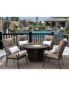 """Tortuga Outdoor Patio 5pc Dining Set for 4 Person with 50"""" Round Fire Table Series 4000 - Antique Bronze Finish"""