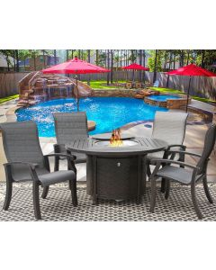 """Barbados Sling Outdoor Patio 5pc Dining Set for 4 Person with 50"""" Round Fire Table Series 4000 - Antique Bronze Finish"""