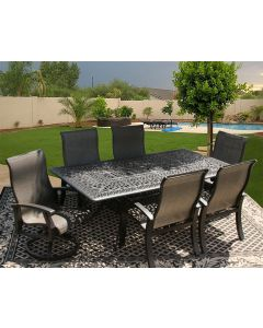 Barbados Sling Outdoor Patio 7pc Dining Set for 6 Person with 44x84 Rectangle Series 2000 Table - Antique Bronze Finish