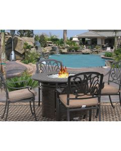 """Eli 42"""" Round Outdoor Patio 5pc Dining Set for 4 Person with Round Fire Table Series 7000 - Antique Bronze Finish"""