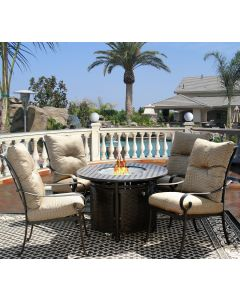 """Tortuga Fire Pit Outdoor Patio 5pc Dining Set for 4 Person with 42"""" Round Fire Table Series 7000 - Antique Bronze Finish"""