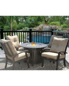 """Barbados Cushion Fire Pit Outdoor Patio 5pc Dining Set for 4 Person with 42"""" Round Fire Table Series 7000 - Antique Bronze Finish"""