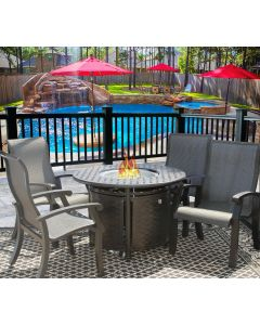 """Barbados Sling Outdoor Patio 5pc Dining Set for 4 Person with 42"""" Round Fire Table Series 7000 - Antique Bronze Finish"""