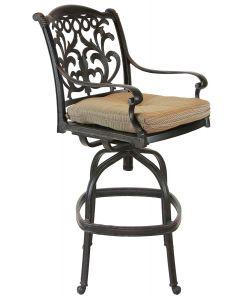 Heritage Outdoor Living Flamingo Cast Aluminum Outdoor Patio Bar stool with Seat Cushion - Antique Bronze