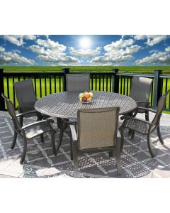 """Barbados Sling Outdoor Patio 7pc Dining Set for 6 Person with 71"""" Round Table Series 5000 - Antique Bronze Finish"""