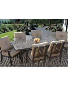 Barbados Cushion Outdoor Patio 7pc Dining Set for 6 Person with 44x86 Rectangle Table Series 4000 - Antique Bronze Finish