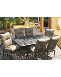 Tortuga Outdoor Patio 7pc Dining Set for 6 Person with 44X84 RECTANGLE SERIES 2000 TABLE - Antique Bronze Finish