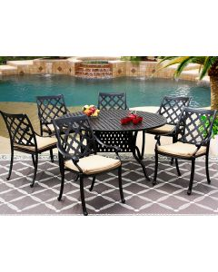 CAMINO REAL CAST ALUMINUM OUTDOOR PATIO 7PC SET 60 Inch ROUND DINING TABLE Series 3000 WITH Sunbrella SESAME LINEN CUSHION