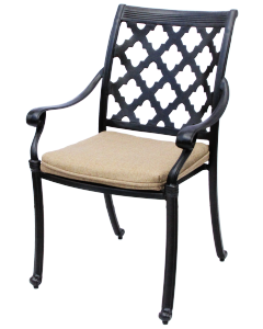 CAMINO REAL CAST ALUMINUM OUTDOOR PATIO DINING CHAIR WITH SEAT CUSHION - ANTIQUE BRONZE