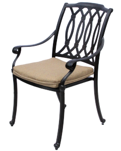 SAN MARCOS CAST ALUMINUM OUTDOOR PATIO DINING CHAIR WITH CUSHION - ANTIQUE BRONZE