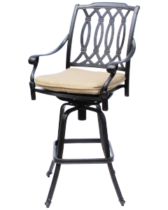 SAN MARCOS CAST ALUMINUM OUTDOOR PATIO BAR STOOL WITH CUSHION - ANTIQUE BRONZE