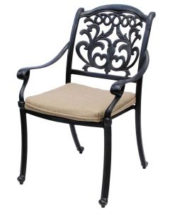 FLAMINGO ALUMINUM OUTDOOR PATIO DINING CHAIR WITH SEAT CUSHION - ANTIQUE BRONZE