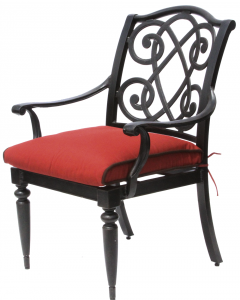 BAHAMA CAST ALUMINUM OUTDOOR PATIO DINING CHAIR WITH CUSHION - ANTIQUE BRONZE