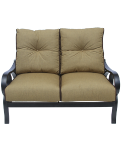 CHANNEL CAST ALUMINUM OUTDOOR PATIO LOVESEAT WITH CUSHION - ANTIQUE BRONZE