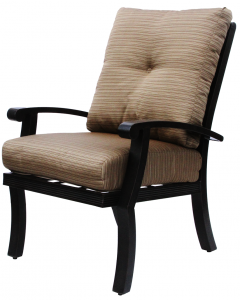 BARBADOS CUSHION ALUMINUM OUTDOOR PATIO DINING CHAIR WITH CUSHION - ANTIQUE BRONZE