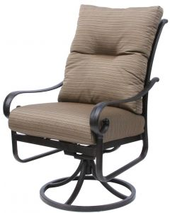 TORTUGA ALUMINUM OUTDOOR PATIO DINING SWIVEL ROCKER CHAIR WITH CUSHION - ANTIQUE BRONZE