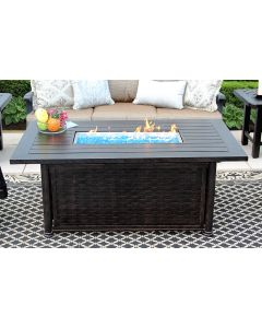 "OUTDOOR PATIO 34"" x 58"" Rectangle Chat FIRE PIT Table - Series 4000"