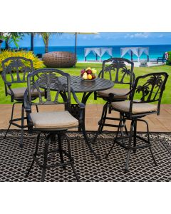 """Heritage Outdoor Living Palm Tree Cast Aluminum Bar Set With 48"""" Round Table - Antique Bronze"""