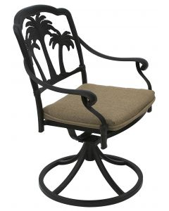 PALM TREE ALUMINUM OUTDOOR PATIO SWIVEL ROCKER DINING CHAIR WITH SEAT CUSHION - ANTIQUE BRONZE