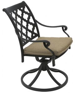 CAMINO REAL CAST ALUMINUM OUTDOOR PATIO SWIVEL ROCKER CHAIR WITH SEAT CUSHION - ANTIQUE BRONZE