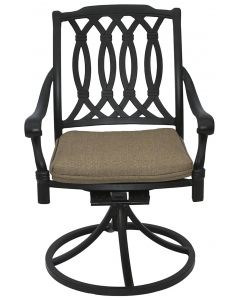 SAN MARCOS CAST ALUMINUM OUTDOOR PATIO SWIVEL ROCKER CHAIR WITH CUSHION - ANTIQUE BRONZE