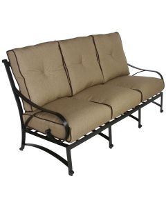 NEWPORT CAST ALUMINUM OUTDOOR PATIO SOFA WITH SUNBRELLA SESAME LINEN CUSHION - ANTIQUE BRONZE