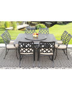 CAMINO REAL CAST ALUMINUM OUTDOOR PATIO 9PC SET 8-DINING CHAIRS 64 Inch SQUARE TABLE