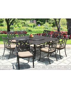 "CAMINO REAL CAST ALUMINUM OUTDOOR PATIO 9PC SET 8-DINING CHAIRS 64 Inch SQUARE TABLE Series 5000 35"" LAZY SUSAN WITH Sunbrella SESAME LINEN CUSHION"