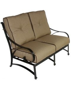 NEWPORT CAST ALUMINUM OUTDOOR PATIO LOVESEAT WITH CUSHION - ANTIQUE BRONZE