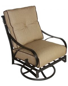 NEWPORT CAST ALUMINUM OUTDOOR PATIO CLUB SWIVEL ROCKER CHAIR WITH CUSHION - ANTIQUE BRONZE