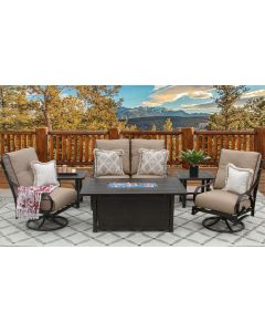 NEWPORT ALUMINUM OUTDOOR PATIO 6PC LOVESEAT, 2-CLUB SWIVEL ROCKERS, 2-END TABLES 34X58 RECTANGLE FIREPIT SERIES 4000 WITH SESAME LINEN CUSHION - ANTIQUE BRONZE