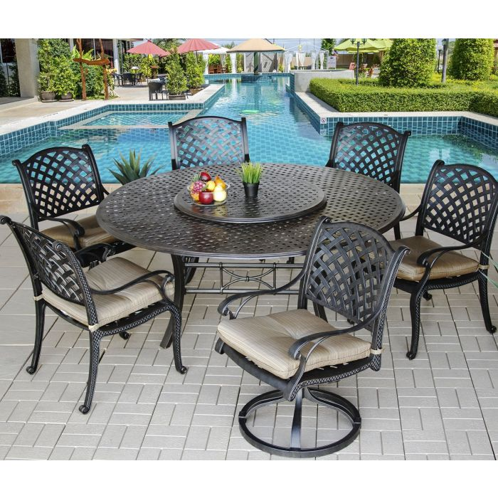 Nassau Outdoor Patio 7pc Dining Set, Round Outdoor Dining Table With Lazy Susan