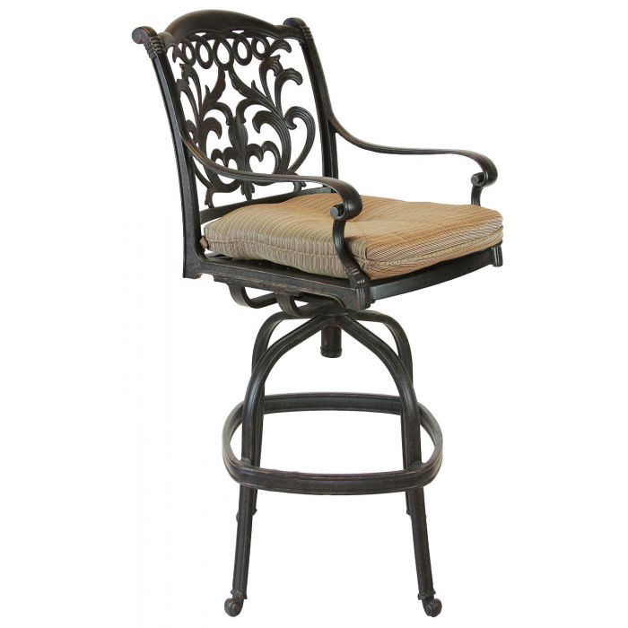 Miraculous Heritage Outdoor Living Flamingo Cast Aluminum Outdoor Patio Bar Stool With Seat Cushion Antique Bronze Andrewgaddart Wooden Chair Designs For Living Room Andrewgaddartcom
