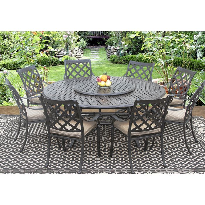 Camino Real Cast Aluminum Outdoor Patio, Round Outdoor Dining Table With Lazy Susan