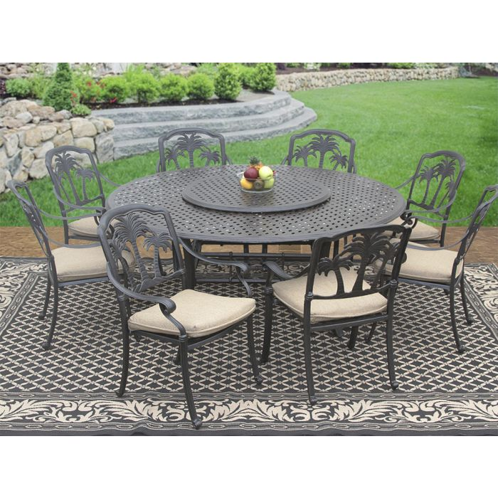Palm Tree Cast Aluminum Outdoor Patio 9pc Set 8 Dining Chairs 71 Inch Round Table 35 Lazy Susan Series 5000 With Sunbrella Sesame Linen Cushion